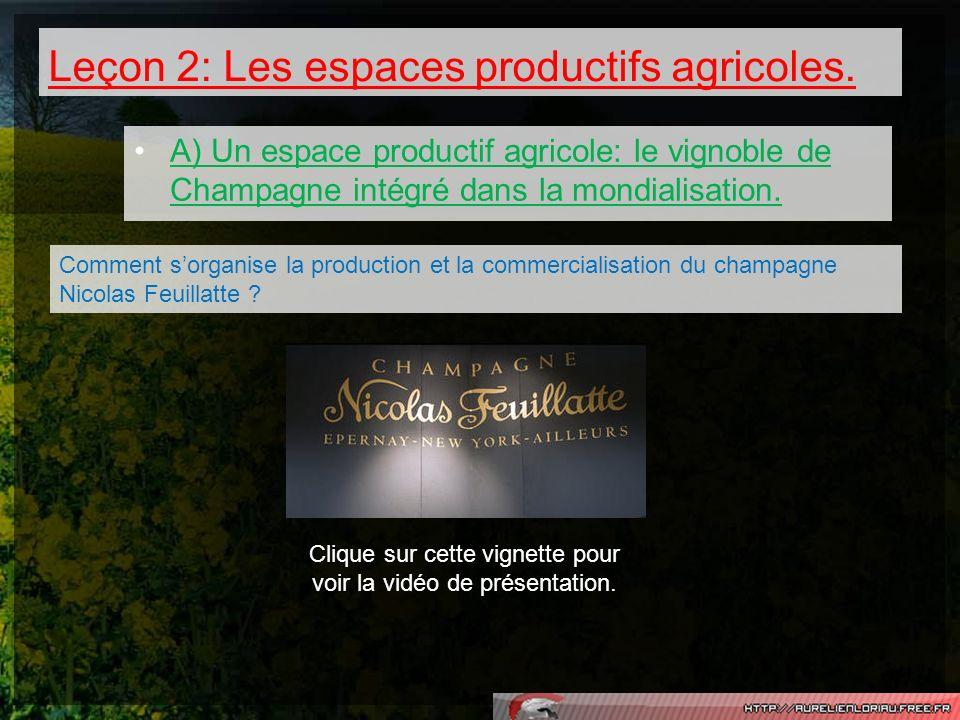 Leçon 2: Les espaces productifs agricoles. A) Un espace productif agricole: le vignoble de Champagne intégré dans la mondialisation. Comment sorganise