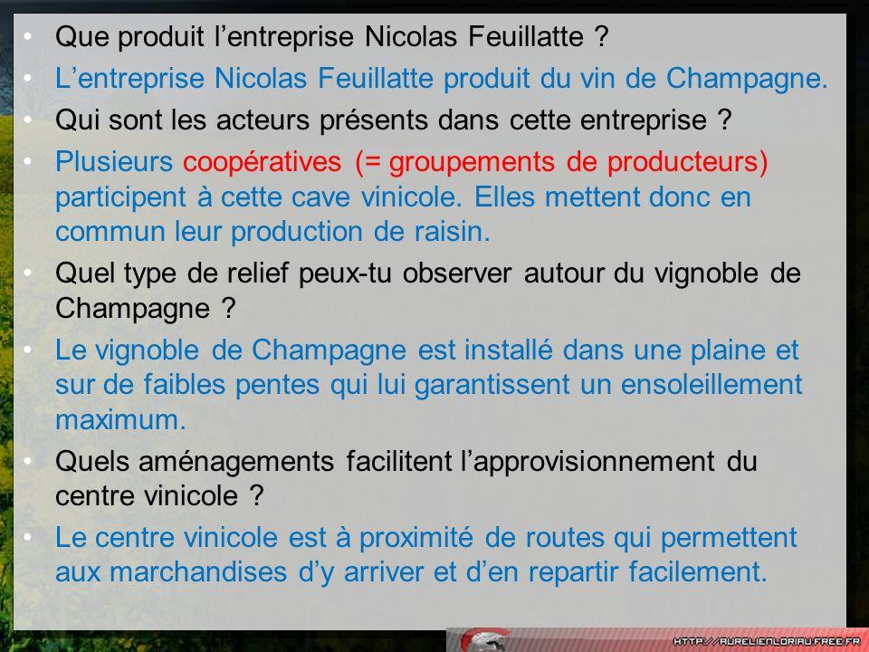 Que produit lentreprise Nicolas Feuillatte ? Lentreprise Nicolas Feuillatte produit du vin de Champagne. Qui sont les acteurs présents dans cette entr