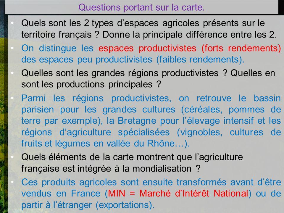 Quels sont les 2 types despaces agricoles présents sur le territoire français ? Donne la principale différence entre les 2. On distingue les espaces p