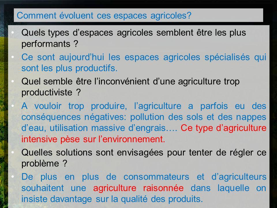 Quels types despaces agricoles semblent être les plus performants ? Ce sont aujourdhui les espaces agricoles spécialisés qui sont les plus productifs.