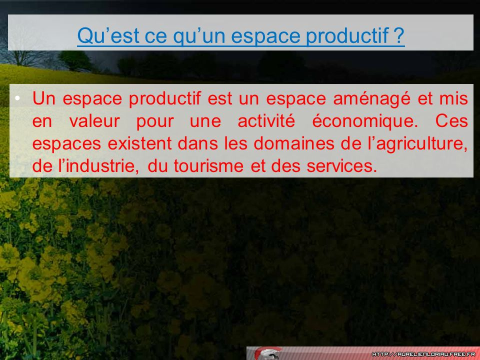 Quest ce quun espace productif ? Un espace productif est un espace aménagé et mis en valeur pour une activité économique. Ces espaces existent dans le