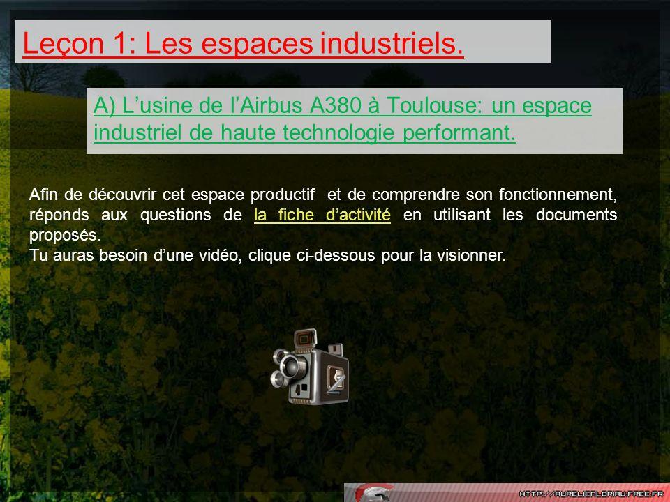 Leçon 1: Les espaces industriels. A) Lusine de lAirbus A380 à Toulouse: un espace industriel de haute technologie performant. Afin de découvrir cet es