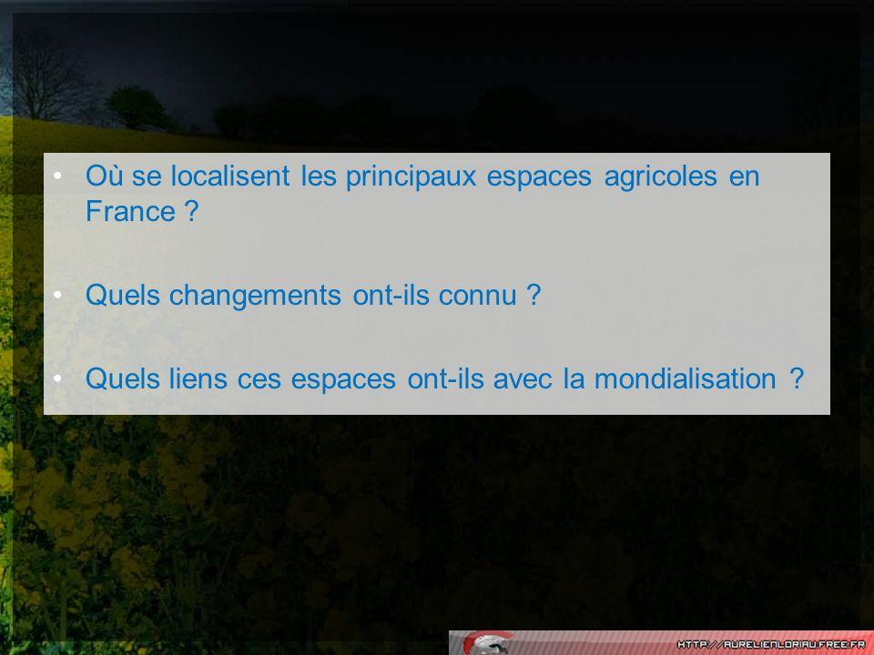 Où se localisent les principaux espaces agricoles en France ? Quels changements ont-ils connu ? Quels liens ces espaces ont-ils avec la mondialisation