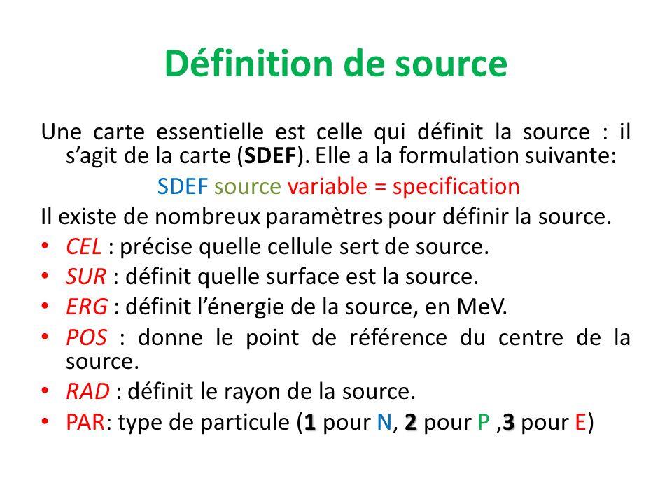 Définition de source Une carte essentielle est celle qui définit la source : il sagit de la carte (SDEF). Elle a la formulation suivante: SDEF source
