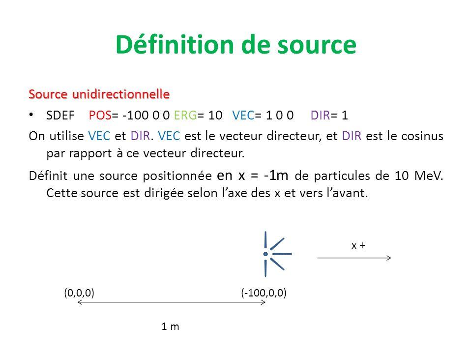 Définition de source Source unidirectionnelle SDEF POS= -100 0 0 ERG= 10 VEC= 1 0 0 DIR= 1 On utilise VEC et DIR. VEC est le vecteur directeur, et DIR