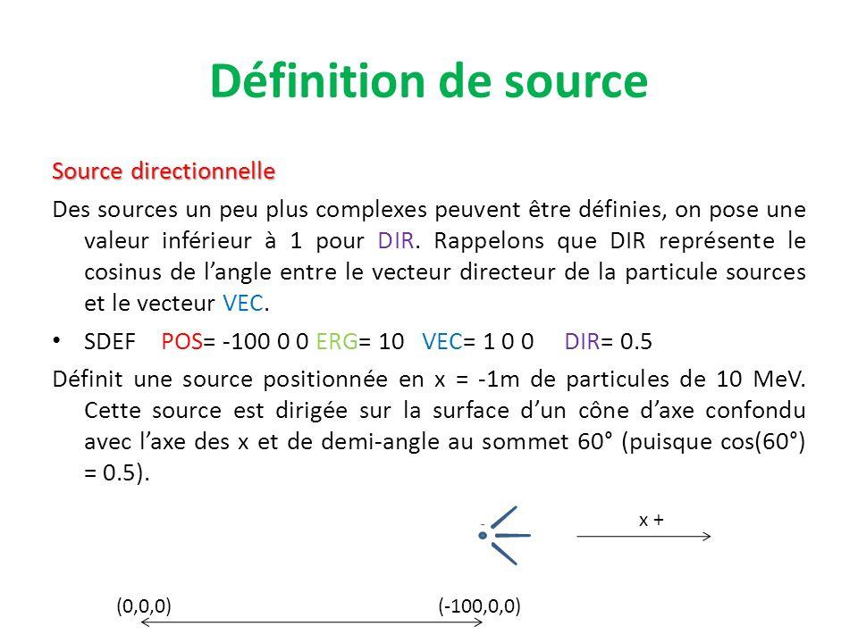 Définition de source Source directionnelle Des sources un peu plus complexes peuvent être définies, on pose une valeur inférieur à 1 pour DIR. Rappelo