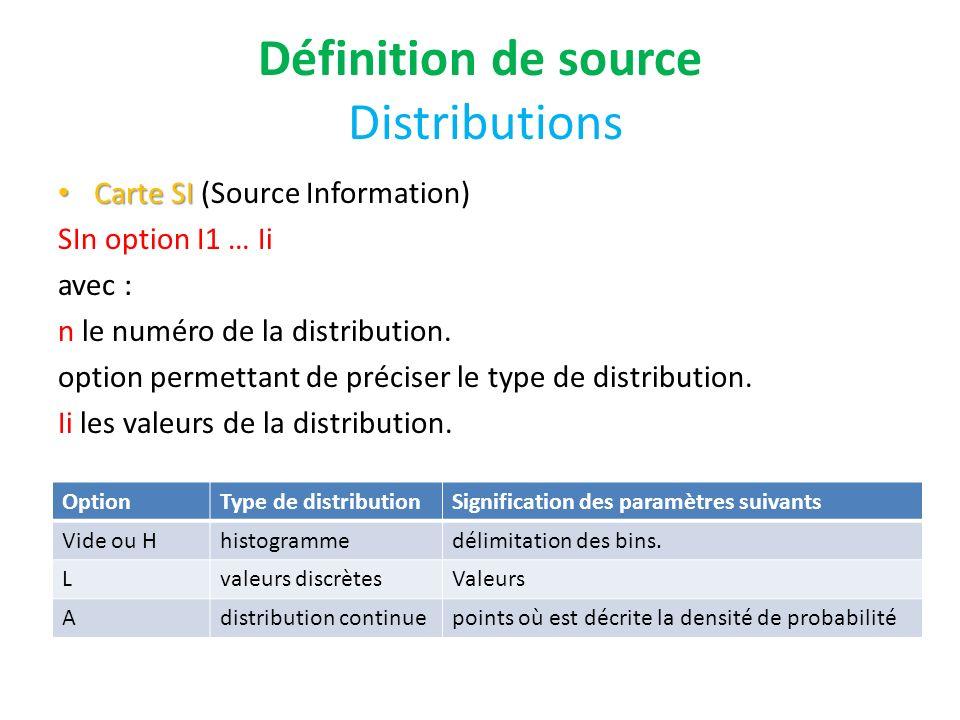 Définition de source Distributions Carte SI Carte SI (Source Information) SIn option I1 … Ii avec : n le numéro de la distribution. option permettant