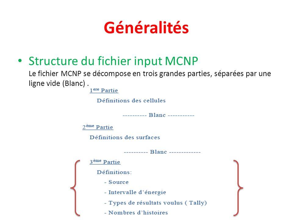 Généralités Structure du fichier input MCNP Le fichier MCNP se décompose en trois grandes parties, séparées par une ligne vide (Blanc).