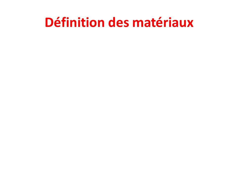 Définition des matériaux