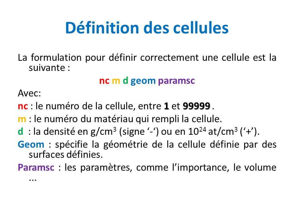 Définition des cellules La formulation pour définir correctement une cellule est la suivante : nc m d geom paramsc Avec: 199999 nc : le numéro de la c
