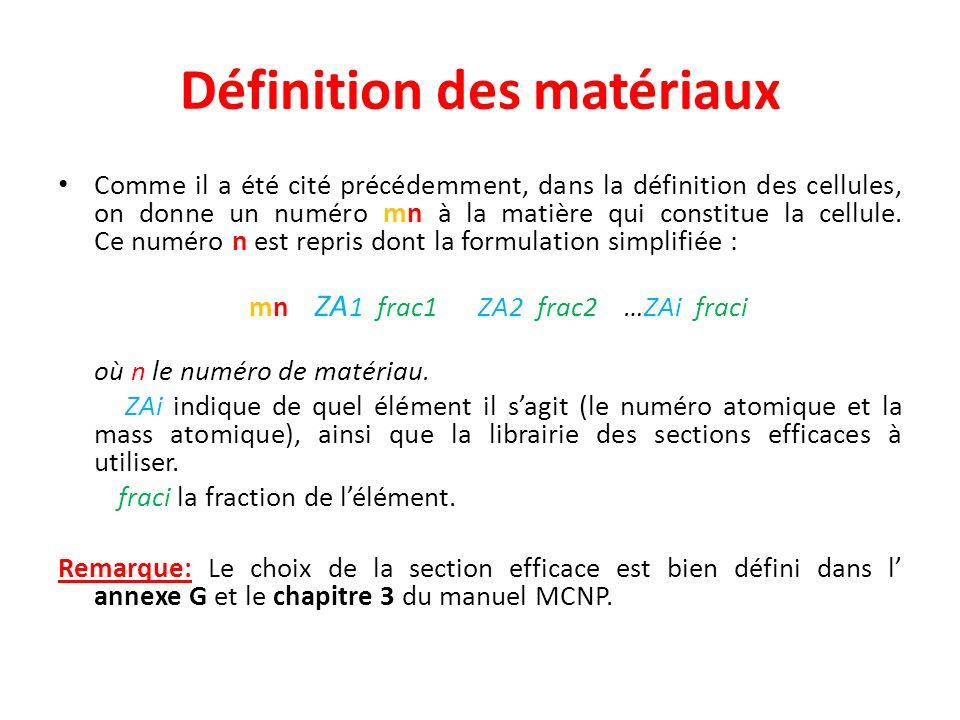 Définition des matériaux Comme il a été cité précédemment, dans la définition des cellules, on donne un numéro mn à la matière qui constitue la cellul