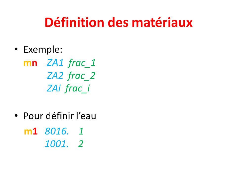 Définition des matériaux Exemple: mn ZA 1 frac_1 ZA2 frac_2 ZAi frac_i Pour définir leau m1 8016. 1 1001. 2
