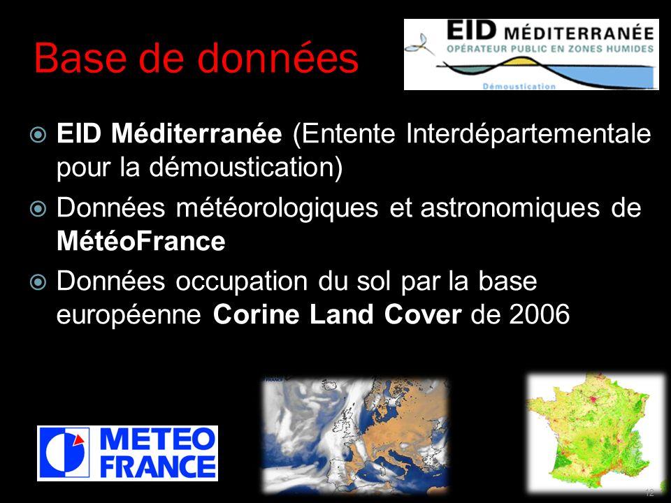 Base de données EID Méditerranée (Entente Interdépartementale pour la démoustication) Données météorologiques et astronomiques de MétéoFrance Données