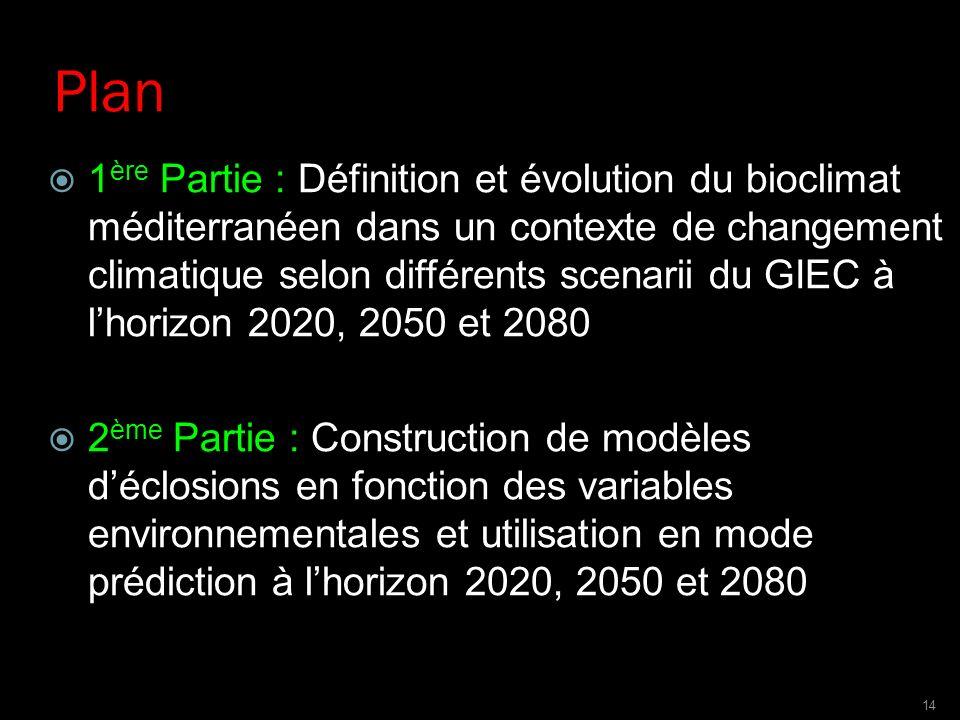 Plan 1 ère Partie : Définition et évolution du bioclimat méditerranéen dans un contexte de changement climatique selon différents scenarii du GIEC à l