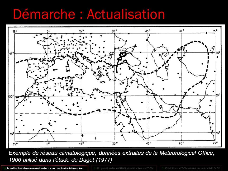 18 Exemple de réseau climatologique, données extraites de la Meteorological Office, 1966 utilisé dans létude de Daget (1977) Démarche : Actualisation