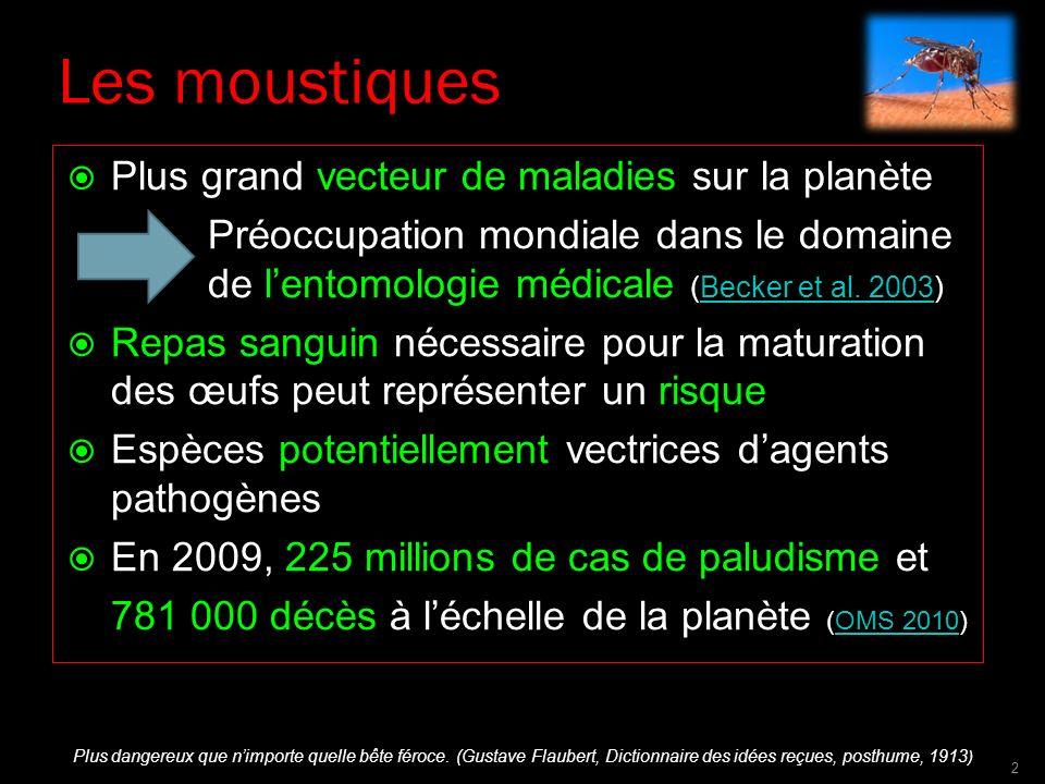 Les moustiques Plus grand vecteur de maladies sur la planète Préoccupation mondiale dans le domaine de lentomologie médicale (Becker et al. 2003)Becke