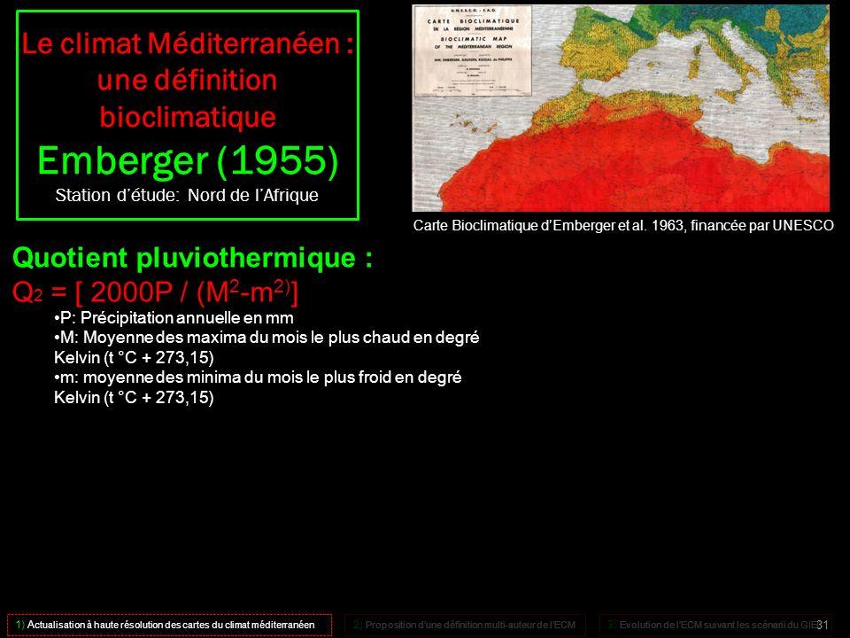 Carte Bioclimatique dEmberger et al. 1963, financée par UNESCO Quotient pluviothermique : Q 2 = [ 2000P / (M 2 -m 2) ] P: Précipitation annuelle en mm