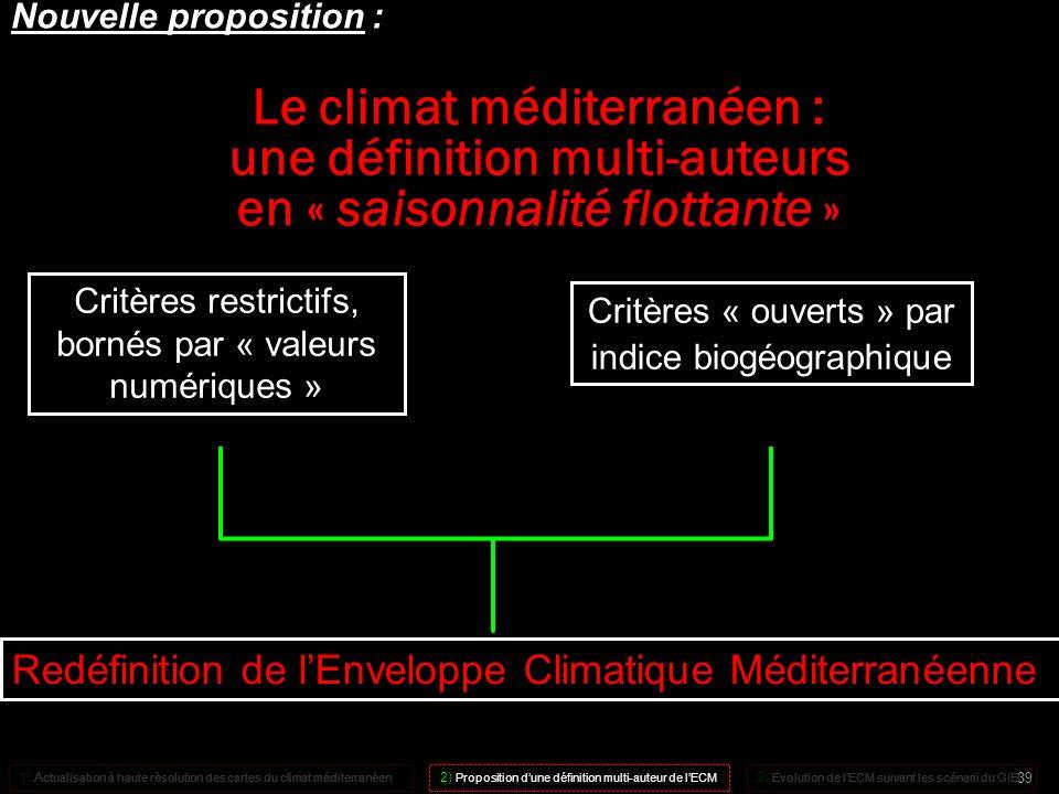 Critères restrictifs, bornés par « valeurs numériques » + Redéfinition de lEnveloppe Climatique Méditerranéenne Critères « ouverts » par indice biogéo