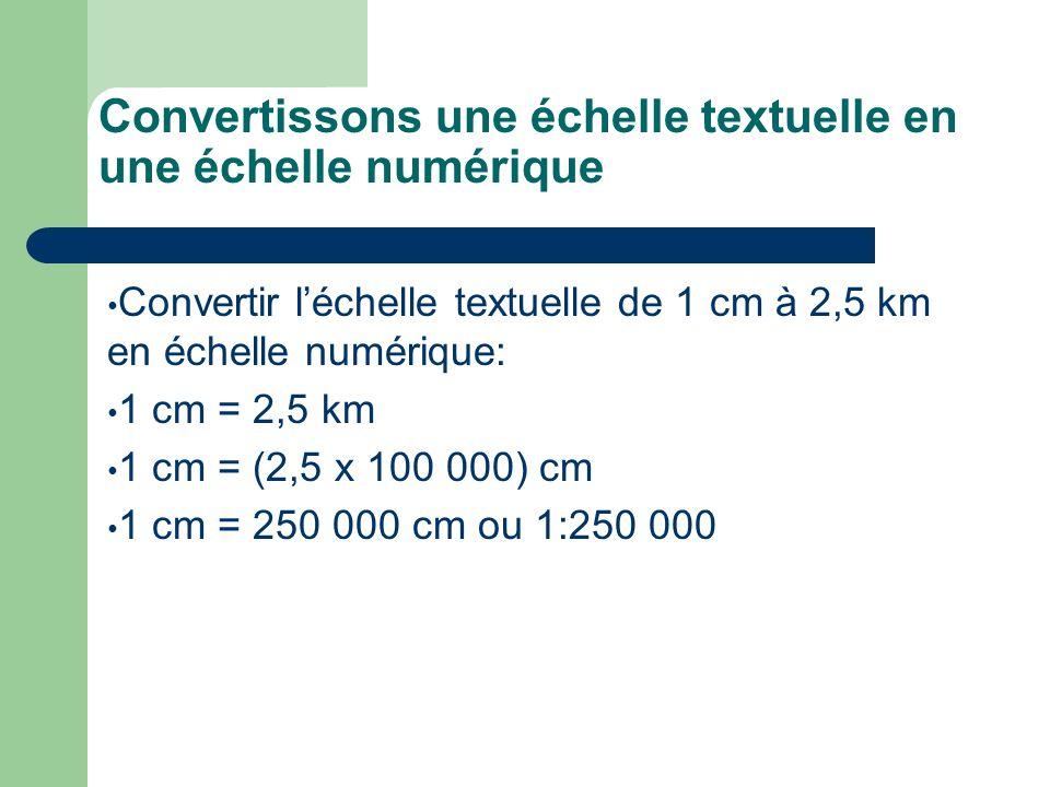 Convertissons une échelle textuelle en une échelle numérique Convertir léchelle textuelle de 1 cm à 2,5 km en échelle numérique: 1 cm = 2,5 km 1 cm =