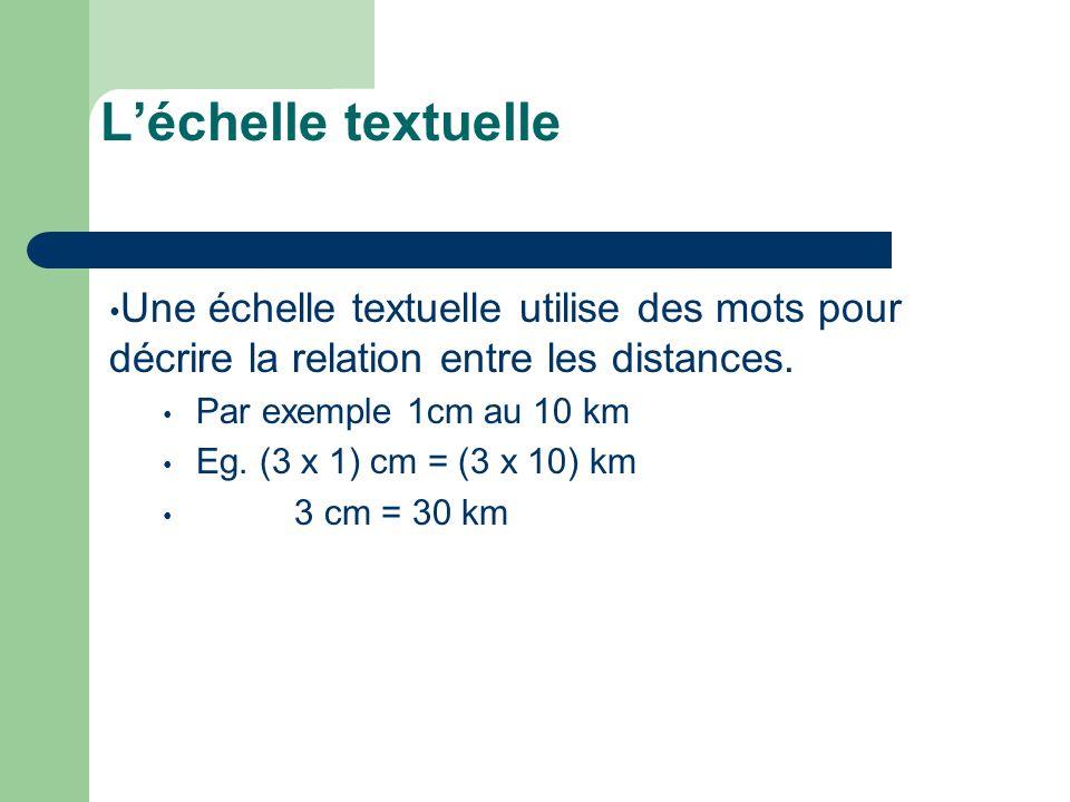 Léchelle textuelle Une échelle textuelle utilise des mots pour décrire la relation entre les distances. Par exemple 1cm au 10 km Eg. (3 x 1) cm = (3 x