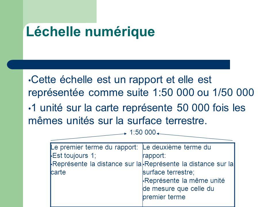 Léchelle numérique Cette échelle est un rapport et elle est représentée comme suite 1:50 000 ou 1/50 000 1 unité sur la carte représente 50 000 fois l