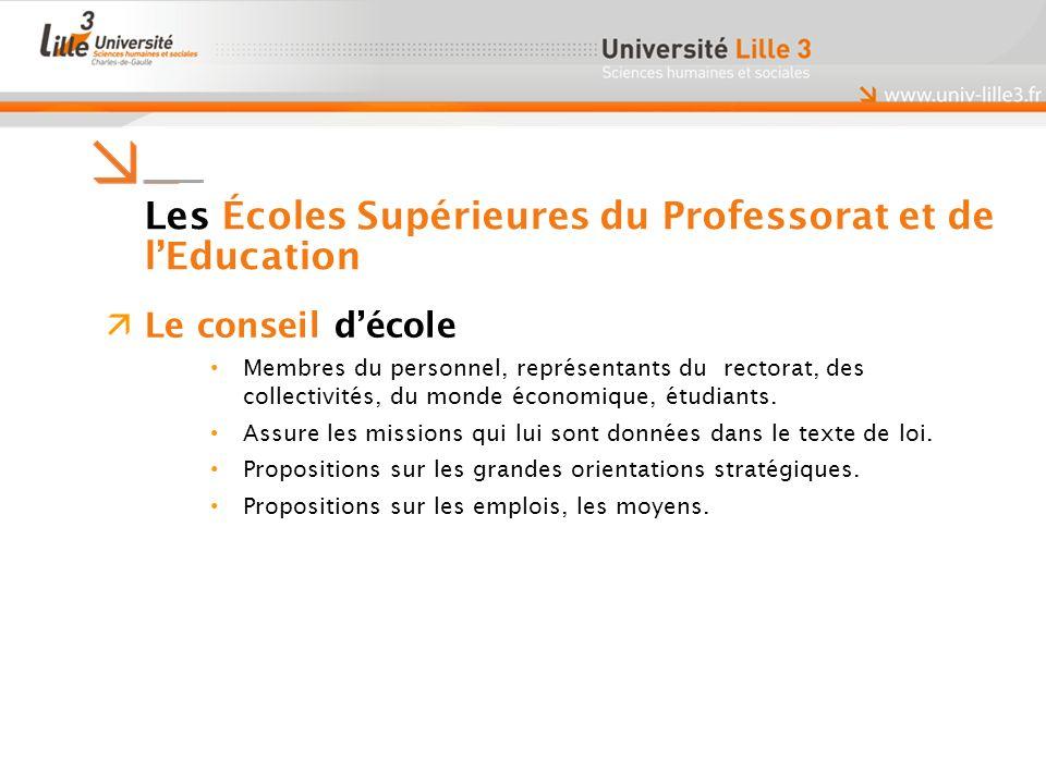 Les Écoles Supérieures du Professorat et de lEducation Le conseil décole Membres du personnel, représentants du rectorat, des collectivités, du monde économique, étudiants.