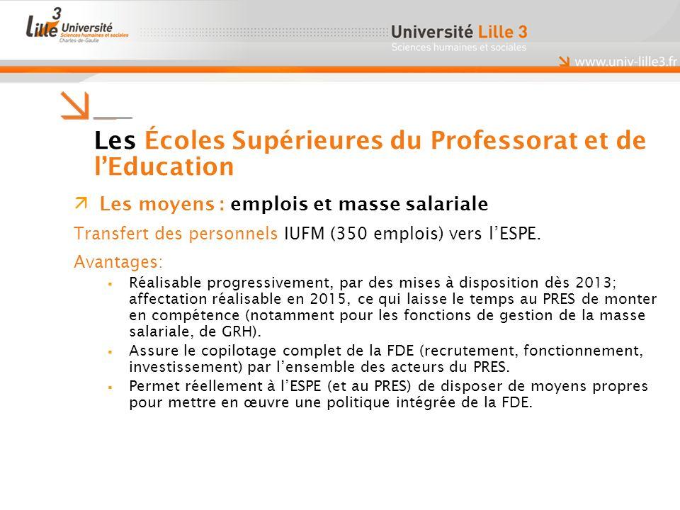 Les moyens : emplois et masse salariale Transfert des personnels IUFM (350 emplois) vers lESPE.