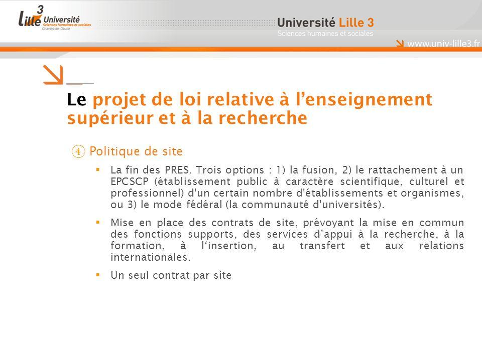 Le projet de loi relative à lenseignement supérieur et à la recherche Politique de site La fin des PRES.
