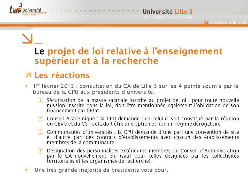 Le projet de loi relative à lenseignement supérieur et à la recherche Les réactions 1 er février 2013 : consultation du CA de Lille 3 sur les 4 points soumis par le bureau de la CPU aux présidents duniversité.
