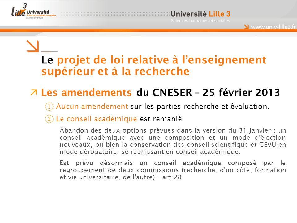 Le projet de loi relative à lenseignement supérieur et à la recherche Les amendements du CNESER – 25 février 2013 Aucun amendement sur les parties recherche et évaluation.