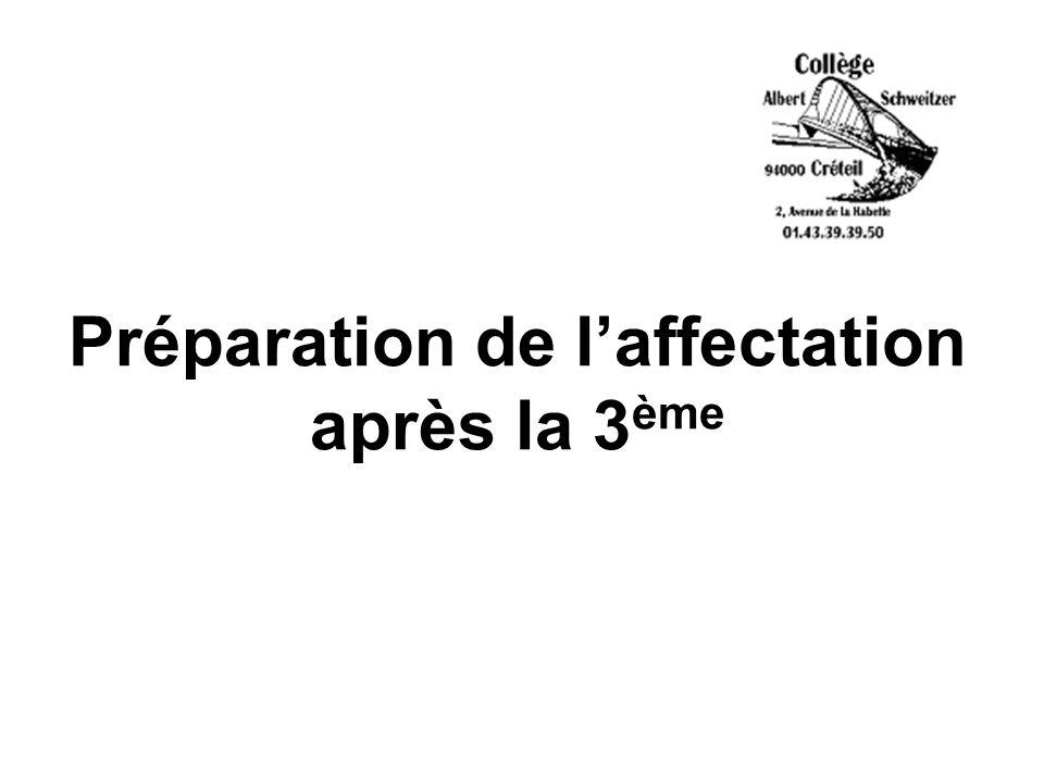 Préparation de laffectation après la 3 ème
