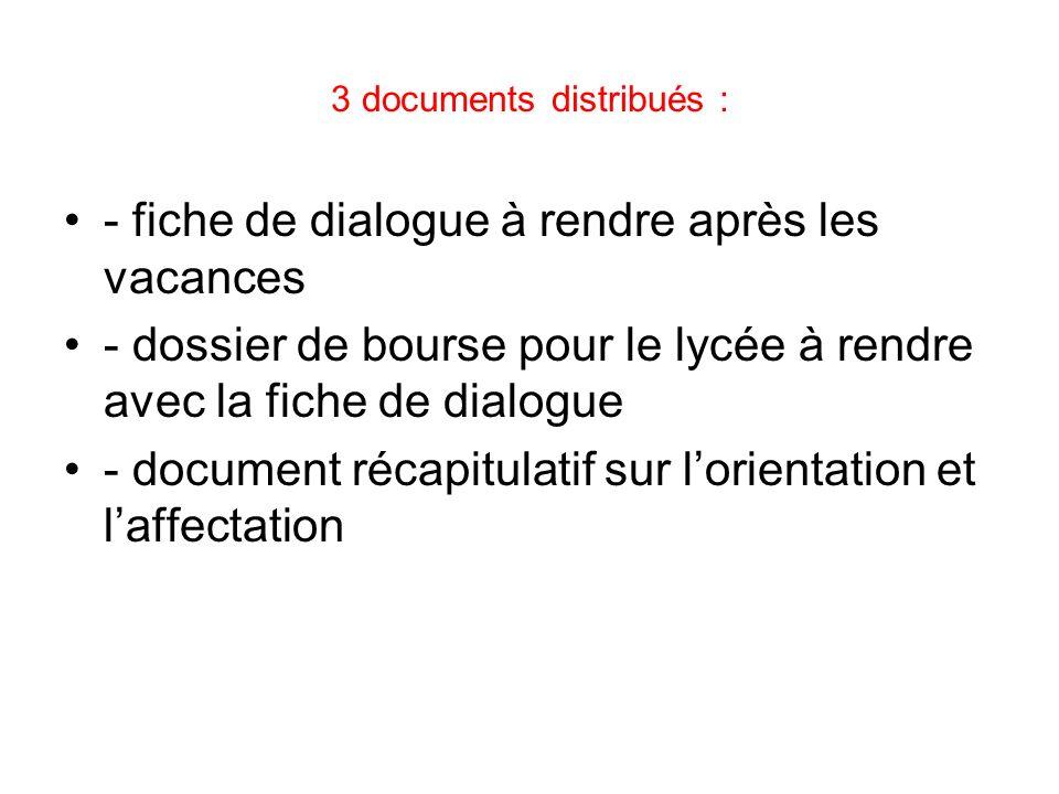 3 documents distribués : - fiche de dialogue à rendre après les vacances - dossier de bourse pour le lycée à rendre avec la fiche de dialogue - docume