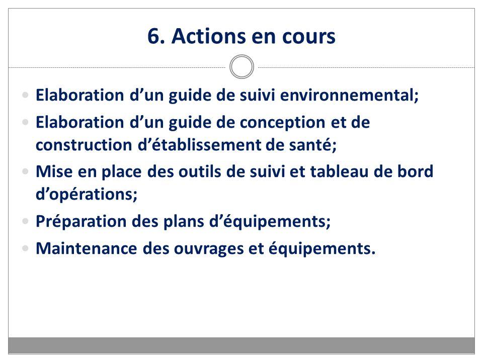 6. Actions en cours Elaboration dun guide de suivi environnemental; Elaboration dun guide de conception et de construction détablissement de santé; Mi
