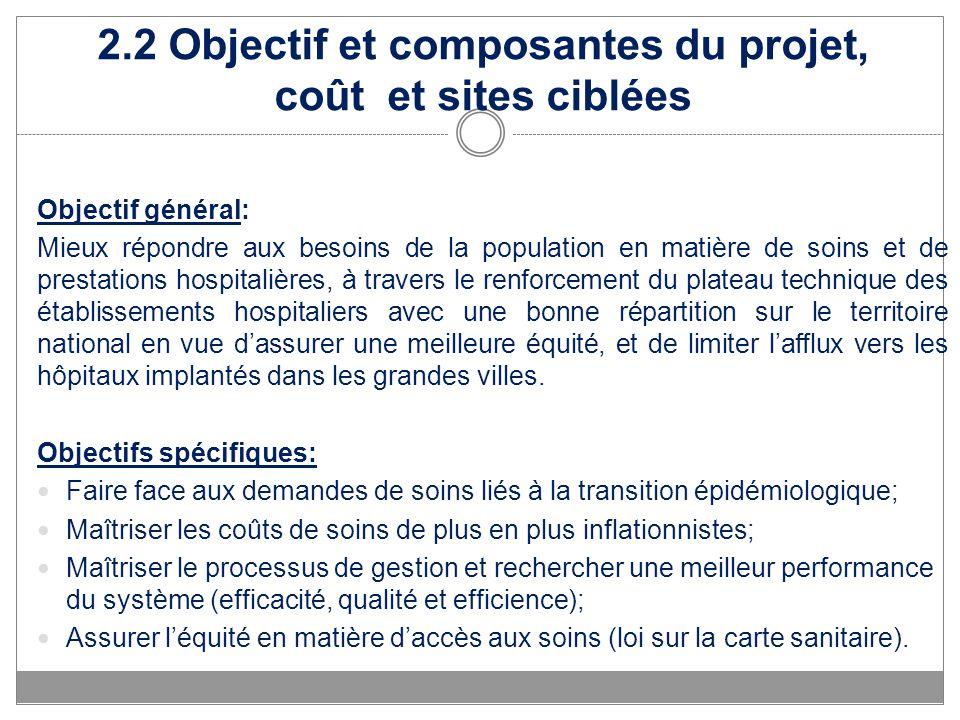 2.2 Objectif et composantes du projet, coût et sites ciblées Objectif général: Mieux répondre aux besoins de la population en matière de soins et de p