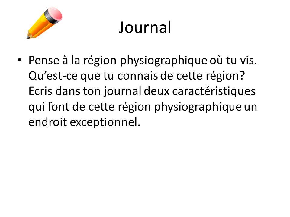 Journal Pense à la région physiographique où tu vis. Quest-ce que tu connais de cette région? Ecris dans ton journal deux caractéristiques qui font de