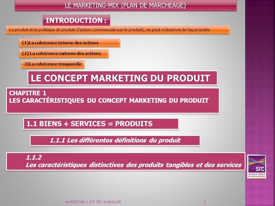 1.1.2 Les caractéristiques distinctives des produits tangibles et des services 1.1.2 Les caractéristiques distinctives des produits tangibles et des s