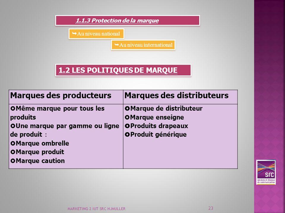 MARKETING 2 IUT SRC HJMULLER 23 1.1.3 Protection de la marque Au niveau national Au niveau international 1.2 LES POLITIQUES DE MARQUE Marques des prod