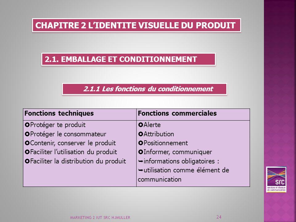 MARKETING 2 IUT SRC HJMULLER 24 CHAPITRE 2 LIDENTITE VISUELLE DU PRODUIT 2.1. EMBALLAGE ET CONDITIONNEMENT 2.1.1 Les fonctions du conditionnement Fonc