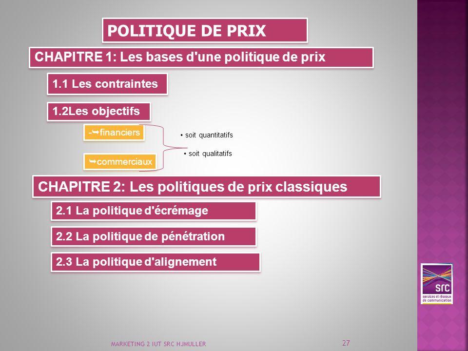 MARKETING 2 IUT SRC HJMULLER 27 POLITIQUE DE PRIX CHAPITRE 1: Les bases d'une politique de prix 1.1 Les contraintes 1.2Les objectifs - financiers comm