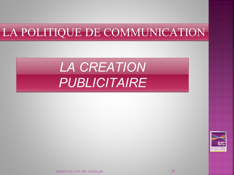 MARKETING 2 IUT SRC HJMULLER 28 LA POLITIQUE DE COMMUNICATION LA CREATION PUBLICITAIRE