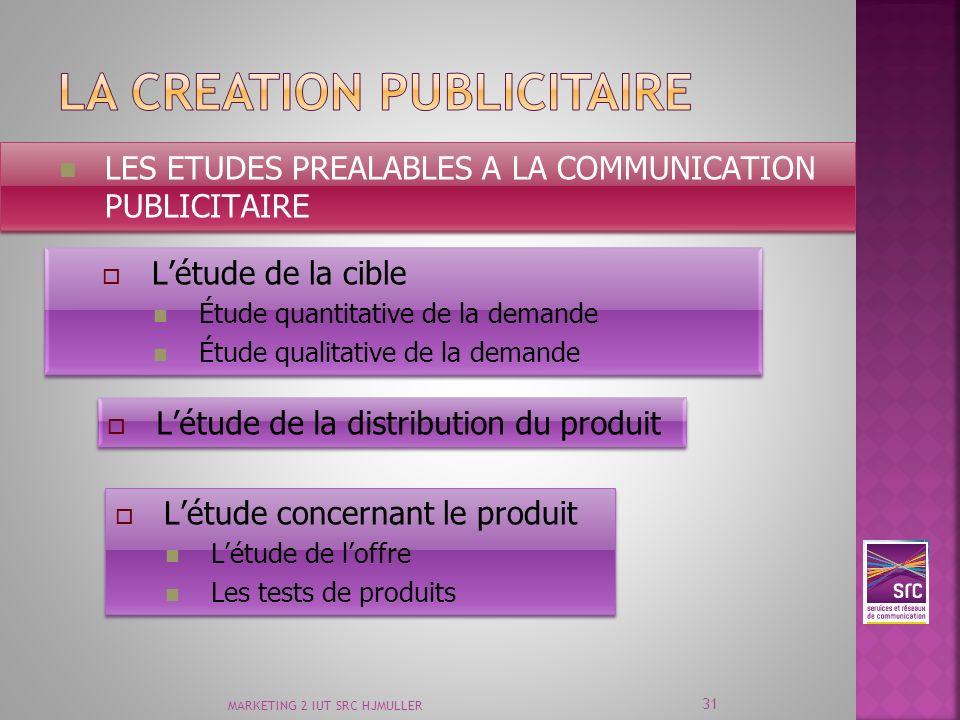 MARKETING 2 IUT SRC HJMULLER 31 LES ETUDES PREALABLES A LA COMMUNICATION PUBLICITAIRE Létude de la cible Étude quantitative de la demande Étude qualit