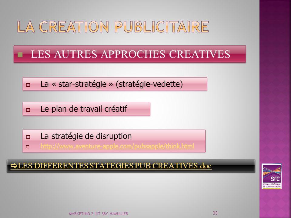 MARKETING 2 IUT SRC HJMULLER 33 LES AUTRES APPROCHES CREATIVES La « star-stratégie » (stratégie-vedette) Le plan de travail créatif La stratégie de di