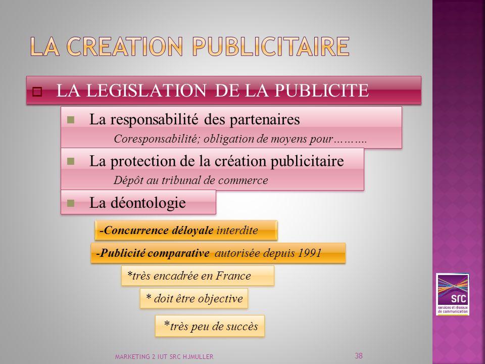 MARKETING 2 IUT SRC HJMULLER 38 LA LEGISLATION DE LA PUBLICITE La responsabilité des partenaires Coresponsabilité; obligation de moyens pour………. La re