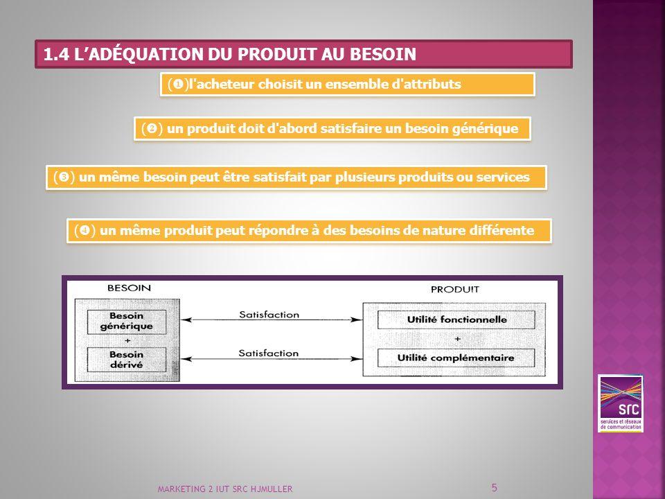 MARKETING 2 IUT SRC HJMULLER 5 1.4 LADÉQUATION DU PRODUIT AU BESOIN ( )l'acheteur choisit un ensemble d'attributs ( ) un produit doit d'abord satisfai
