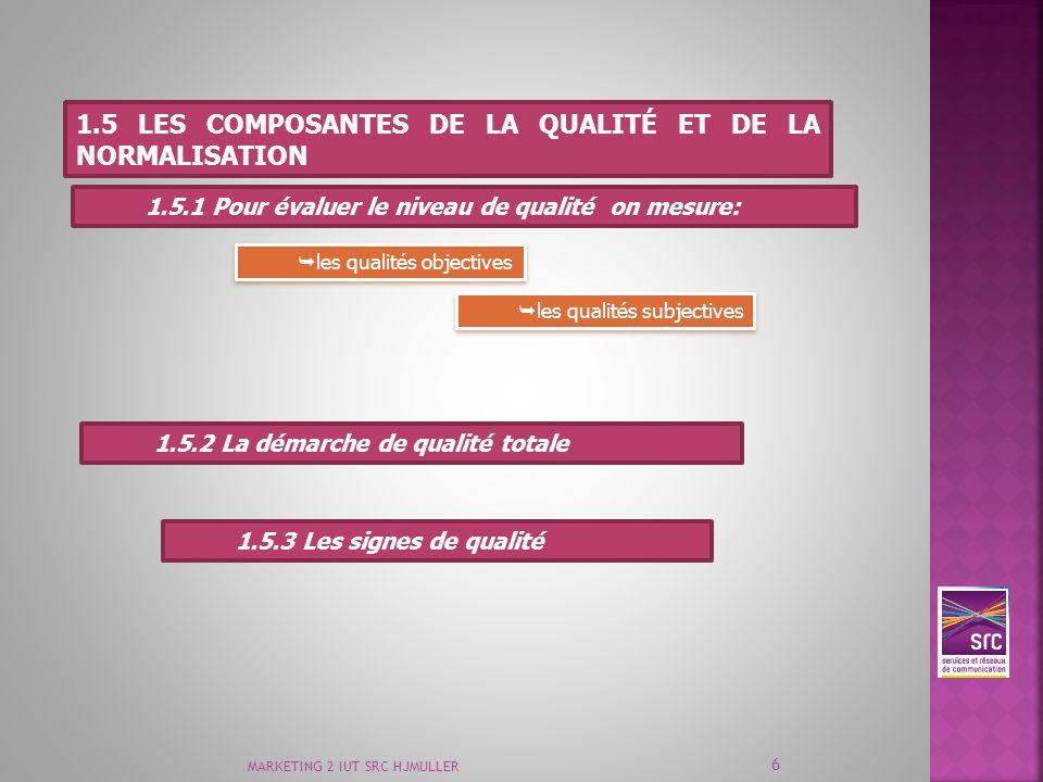 MARKETING 2 IUT SRC HJMULLER 6 1.5 LES COMPOSANTES DE LA QUALITÉ ET DE LA NORMALISATION 1.5.1 Pour évaluer le niveau de qualité on mesure: les qualité