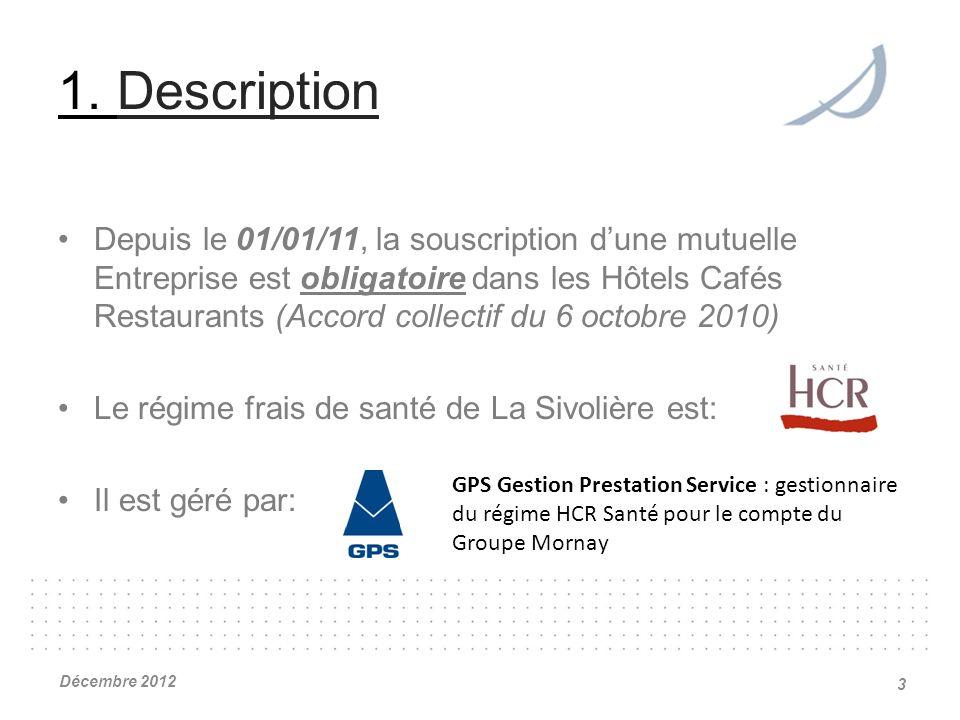 1. Description Depuis le 01/01/11, la souscription dune mutuelle Entreprise est obligatoire dans les Hôtels Cafés Restaurants (Accord collectif du 6 o