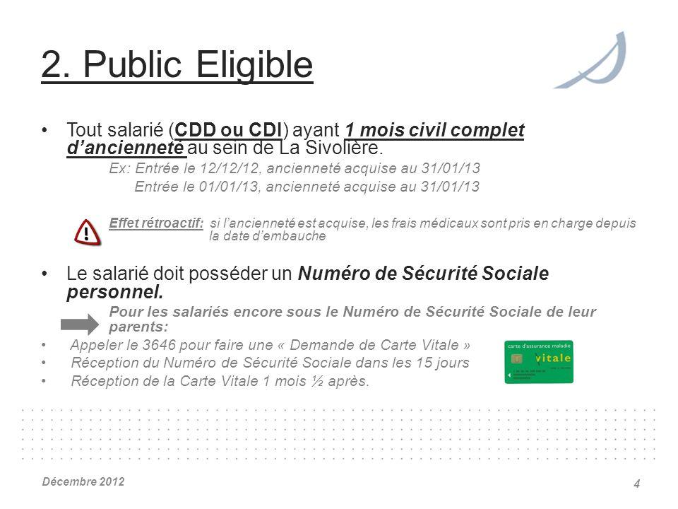 2. Public Eligible Tout salarié (CDD ou CDI) ayant 1 mois civil complet dancienneté au sein de La Sivolière. Ex: Entrée le 12/12/12, ancienneté acquis