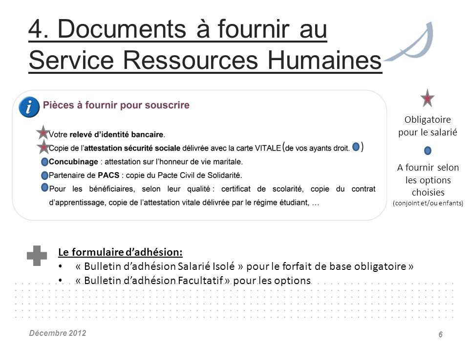 4. Documents à fournir au Service Ressources Humaines Décembre 2012 6 ( ) Obligatoire pour le salarié A fournir selon les options choisies (conjoint e