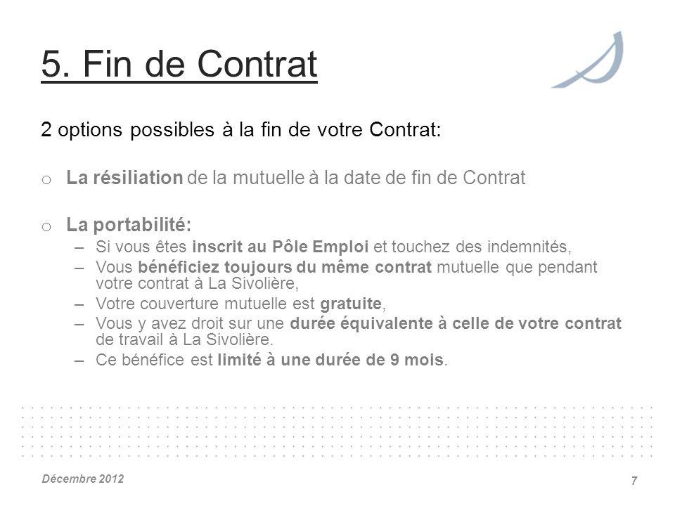 5. Fin de Contrat 2 options possibles à la fin de votre Contrat: o La résiliation de la mutuelle à la date de fin de Contrat o La portabilité: –Si vou