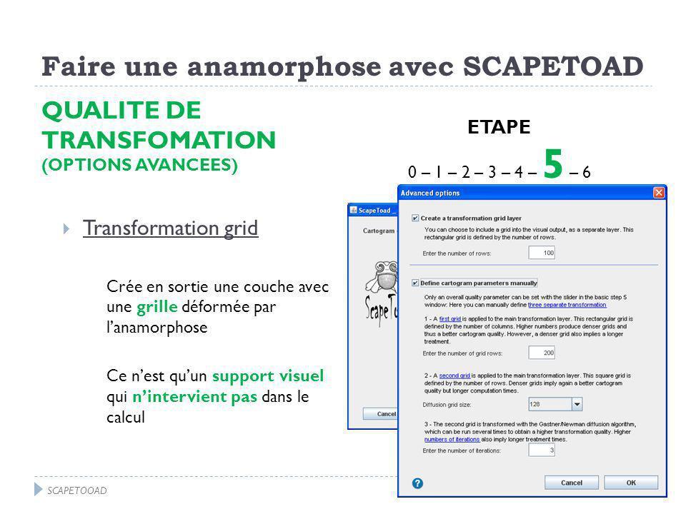 Faire une anamorphose avec SCAPETOAD QUALITE DE TRANSFOMATION (OPTIONS AVANCEES) Transformation grid Crée en sortie une couche avec une grille déformée par lanamorphose Ce nest quun support visuel qui nintervient pas dans le calcul ETAPE 0 – 1 – 2 – 3 – 4 – 5 – 6 SCAPETOOAD